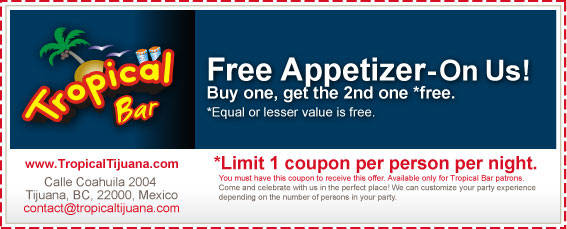 Coupon - Free Appetizer