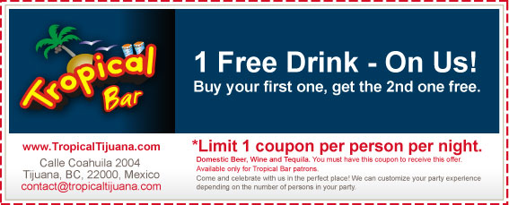 Coupon - 1 Free Drink